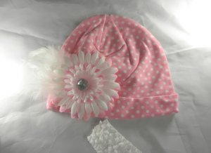 Pink n' White Polka Dot BEANIE Cap Hat Knit Hair Flower headband Baby Toddler Feathers