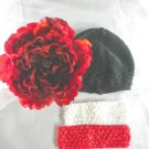 Black Red Cabbage Rose BEANIE Cap Hat Crochet Hair Flower Clip Bling Baby Infant Toddler Girl