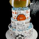 3 tier NoJo My Little MVP Sports Diaper Cake Baby Shower Gift Blankets Blue White Boy