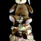 3 tier CoCaLo Jacana Monkey Diaper Cake Baby Shower Luxe Centerpiece Gift Girl Jungle Safari