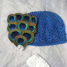 Peacock Blue Waffle BEANIE Cap Hat Crochet Feather Flower Clip Rhinestone Baby Infant Toddler Girl