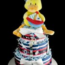 3 Tier Nautical Duck Baby Shower Diaper Cake Sail Boat Gift Ahoy Mate Lighthouse