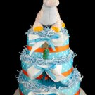3 tier Baby Dinosaur Diaper Cake Baby Shower Gift Turquoise Blue Orange White Boy