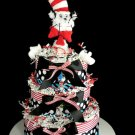 3 Tier Cat in the Hat Baby Shower Diaper Cake Gift Dr. Seuss Centerpiece