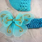 Turquoise Blue Waffle BEANIE Cap Hat Crochet XL Butterfly Hair Clip Baby Infant Toddler Girl