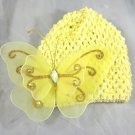 Lemon Yellow Waffle BEANIE Cap Hat Crochet XL Butterfly Hair Clip Baby Infant Toddler Girl