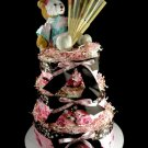 3 Tier Cherry Blossom Baby Girl Diaper Cake Baby Shower Centerpiece Gift It's A Girl Pink Brown