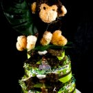 3 Tier Mod Monkey Diaper Cake Baby Shower Luxe Centerpiece Gift Neutral Green Brown Jungle Safari