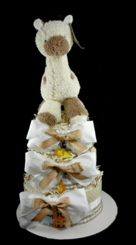 3 Tier CoCaLo Snickerdoodle Giraffe Diaper Cake Baby Shower Luxe Centerpiece Gift Neutral Cream Gold