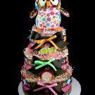 3 Tier Life's a Hoot Girl Owl Diaper Cake Baby Shower Luxe Centerpiece Gift Mary Meyer Pink Brown
