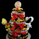3 Tier Peanuts Diaper Cake Baby Shower Luxe Centerpiece Gift Neutral Charlie Brown Snoopy Woodstock