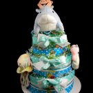 3 Tier Under the Sea Baby and Me Diaper Cake Baby Shower Luxe Gift Boy Blue White Sea Critters