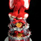 3 Tier I Heart You Girl Elephant Diaper Cake Baby Shower Luxe Centerpiece Gift Red Black Mary Meyer