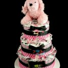 3 Tier Ooh LaLa Pink French Poodle Diaper Cake Baby Shower Centerpiece Gift Girl Puppy Diva Dog