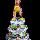 3 tier Purple Crazy Quilti Quilted Horse Diaper Cake Baby Shower Luxe Centerpiece Gift Purple Green