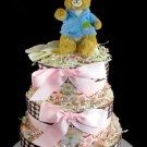 3 Tier Peter Rabbit Baby Girl Diaper Cake Baby Shower Gift Beatrix Potter My First Book Blanket