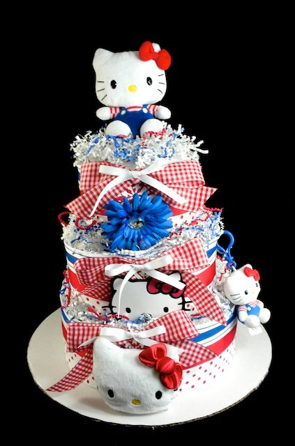 Baby Shower Stores In Dallas Tx ~ Hello kitty baby girl diaper cake tiers shower