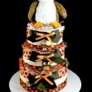 Owl Diaper Cake Baby Shower Luxe Centerpiece Gift Neutral Mary Meyer 3 tier