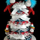 Twins Diaper Cake Dr. Seuss Thing 1 & 2 Cat in the Hat 4 tier