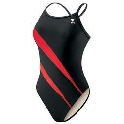 TYR Team Lightning Girl Swimsuit (Black & Red) Size: 26