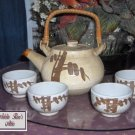 Vintage Japan Pottery Sake Teapot and 4 Cups Mint