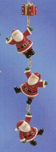 Russ Berrie Christmas Ornament - Santa's Village Santa Dangle Red Gift FREE USA SHIPPING