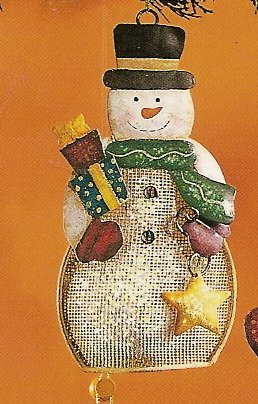 Russ Berrie Christmas Ornament - Metal Mesh Snowman with Star FREE USA SHIPPING