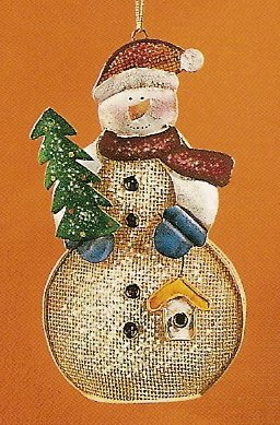 Russ Berrie Christmas Ornament - Metal Mesh Snowman with Birdhouse FREE USA SHIPPING