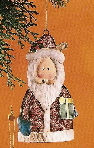 Russ Berrie Christmas Ornament - Metal Mesh Santa Holding Present FREE USA SHIPPING
