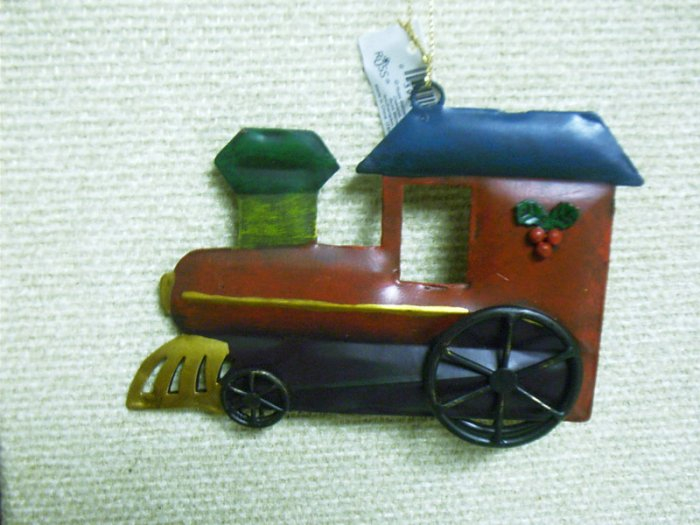Russ Berrie Christmas Ornament Double Sided Painted Tin Train Locomotive