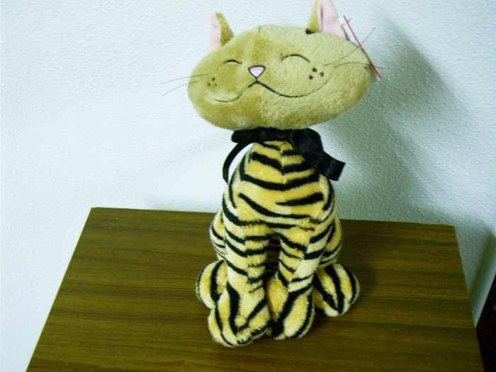 "Russ Berrie Plush Cat - Aggie - 10"" Tan / Black  FREE USA SHIPPING!"