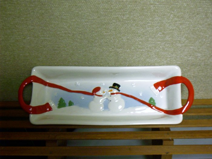Russ Berrie Christmas Moments of Wonder Stoneware Snowman Cheese & Cracker Tray FREE USA SHIPPING!