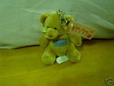 Russ Berrie With Love Bears Clip On - Personalized - Rachel  FREE USA SHIPPING!!