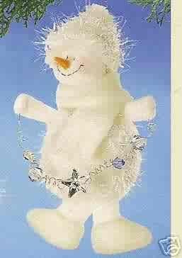 Russ Berrie Christmas Ornament - Winter Snowman with Garland FREE USA SHIPPING