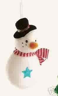 Russ Berrie Santa's Toyland Christmas Ornament - Plush Snowman FREE USA SHIPPING
