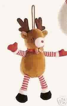 Russ Berrie Santa's Toyland Christmas Ornament - Plush Reindeer FREE USA SHIPPING