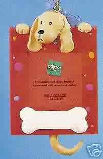 Russ Berrie Wags to Whiskers Christmas Ornament Tan Dog Red Photo Frame FREE USA SHIPPING
