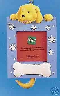 Russ Berrie Wags to Whiskers Christmas Ornament Golden Dog / Blue Photo Frame FREE USA SHIPPING