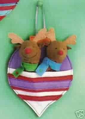 Russ Berrie Christmas Ornament - Felt Finger Puppets - Reindeer FREE USA SHIPPING