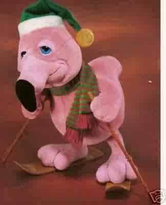 Russ Berrie Christmas - Plush Frannie Flamingo on Skis - FREE USA SHIPPING!!!