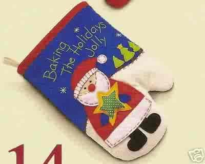 Russ Berrie Christmas Skribbles Oven Mitt Baking the Holidays Jolly Santa FREE USA SHIPPING