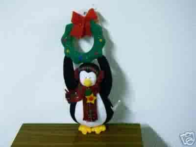 Russ Berrie Christmas - Moments of Wonder Penguin Doorknob Hanger FREE USA SHIPPING!
