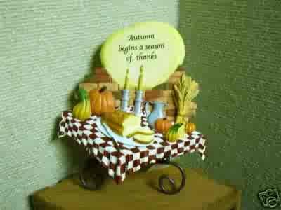 Russ Berrie Autumn Settings Collection Plaque with Stand - Autumn Table - FREE USA SHIPPING!!