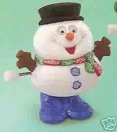 Russ Berrie Christmas Stocking Stuffer Toy - Wind-up Hopping Snowman FREE USA SHIPPING!