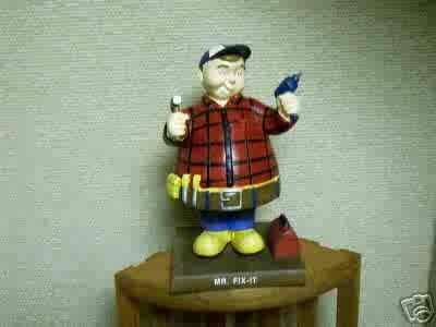 Russ Berrie Bobble Guyz - Mr. Fix It Handyman - Bobble Bods - FREE USA SHIPPING!
