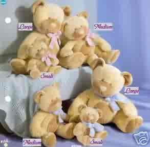 Russ Berrie Baby Collection - Taffey Patchwork Rattle Teddy Bear - Small Blue