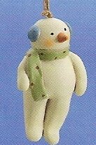 Russ Berrie Peace in the Meadow Christmas Ornament - Snowman with Earmuffs FREE USA SHIPPING!