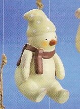 Russ Berrie Peace in the Meadow Christmas Ornament - Snowman Sitting FREE USA SHIPPING!!!