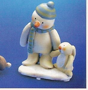Russ Peace in the Meadow Small Figurine - Green/Blue Hat Snowman with Bunny FREE USA SHIPPING!