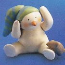 Russ Peace in the Meadow Small Figurine - Snowman Sitting with Brown Bunny FREE USA SHIP!!